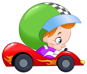 Kid race car driver
