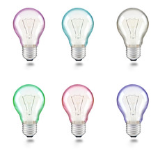 mixed color of light bulb on white background