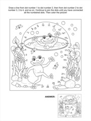 Dot-to-dot and coloring page with happy frogs