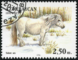 stamp shows a white horse standing in a pasture