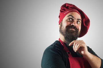 happy bearded chubby chef