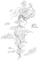 Scetch dragon from lines in clouds.