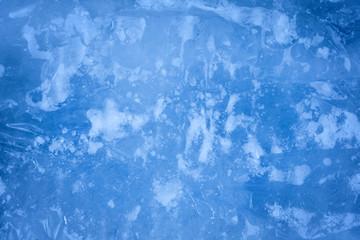 Blue ice closeup background texture