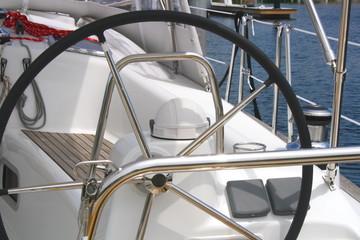 Close up of a sailboat steering wheel