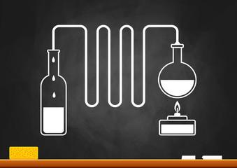 Distillation kit on blackboard