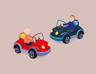 Printed roller blinds Cars Girl and boy driving toy cars