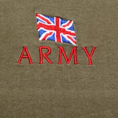 British Army logo on a khaki background
