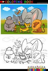african wild  animals cartoon for coloring book
