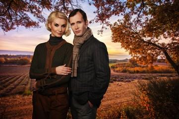 Elegant couple against lavender field