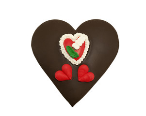 chocolate covered heart cookie on a white background