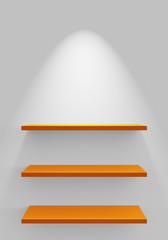 Drei Regale an Wand mit Beleuchtung - Weiß Orange