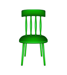 Wooden chair in green design