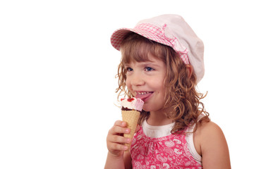 Wall Mural - happy little girl with ice cream on white