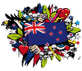 New Zealand flag maori street art graffiti illustration