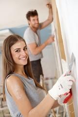 Beautiful woman DIY at home