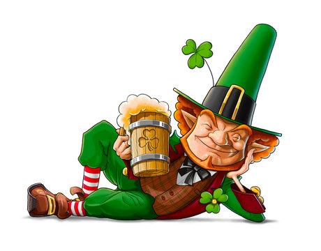 elf leprechaun with beer for saint patrick's day illustration