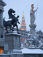 Vienna - Pallas Athena fountain and parliamen in winter