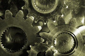 gears, cogs and pinions in bronze vintage toning