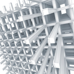3d architecture light blue monochrome abstract