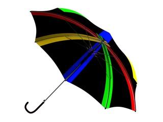 isolated black umbrella with color stripes