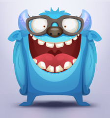 Poster de jardin Creatures Blue Monster