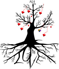 tree with hearts and the word LOVE