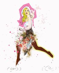 jumping bunny girl - drawing into vector