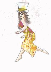 Beautiful woman jumping - hand drawing into vector