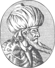 Enraved portrait of Sultan Orhan Gazi