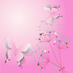 Paper Butterfly on flower background with space for text