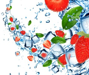 Strawberries in water splash with ice cubes