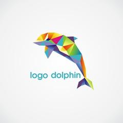 Canvas Prints Geometric animals logo dolphin