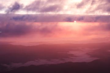 Poster Crimson Sunrise over mountain
