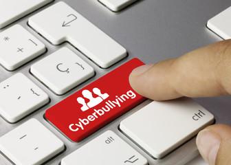 Cyberbullying keyboard key. Finger