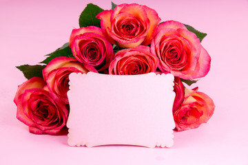 Blank paper with roses