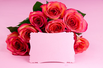 Blank papar with roses