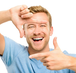 happy man framing photograph