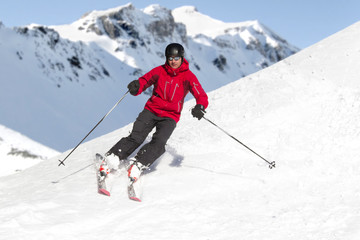 Man skiing  alps