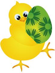 Chick Carrying Easter Egg Illustration