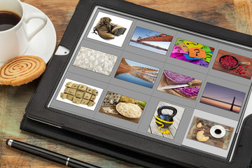 viewing pictures on digital tablet