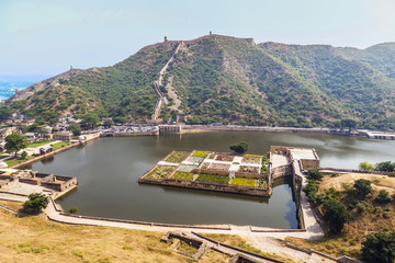 Maota Lake and Gardens of Amber Fort in Jaipur, Rajasthan, India