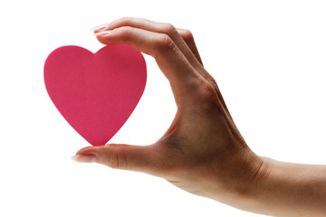 pink heart in hand