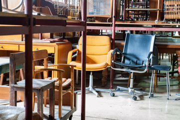 Set of chairs in the factory