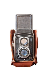 Old TLR camera isolated on white background