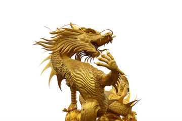Wall Murals Dragons Golden dragon statue on white background