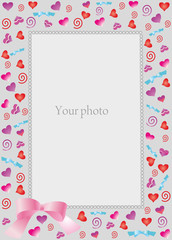 Decorative frame with hearts for photo