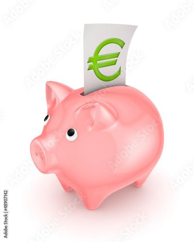 Piggy Bank And Symbol Of Euro