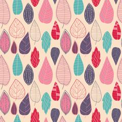 Retro leafs pattern. Nature fun background
