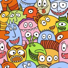 Aluminium Prints Creatures Funny monsters seamless vector pattern.
