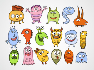 Door stickers Creatures Set of funny Halloween monsters.